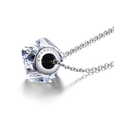 PAULINE & MORGEN Rotating elf Necklace for Women with Swarovski crystals and 925 sterling silver chain xbNan