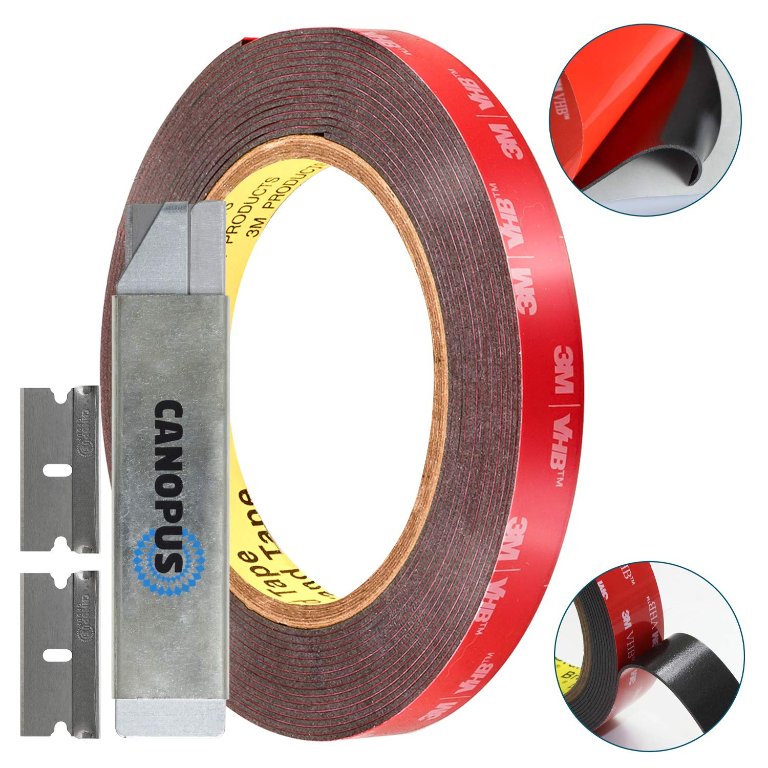 3M Double Sided Tape Heavy Duty: Mounting Tape Converted from 3M VHB 5952, (0.5 in x 15 ft) Super Strong Foam Tape for Outdoor and Indoor