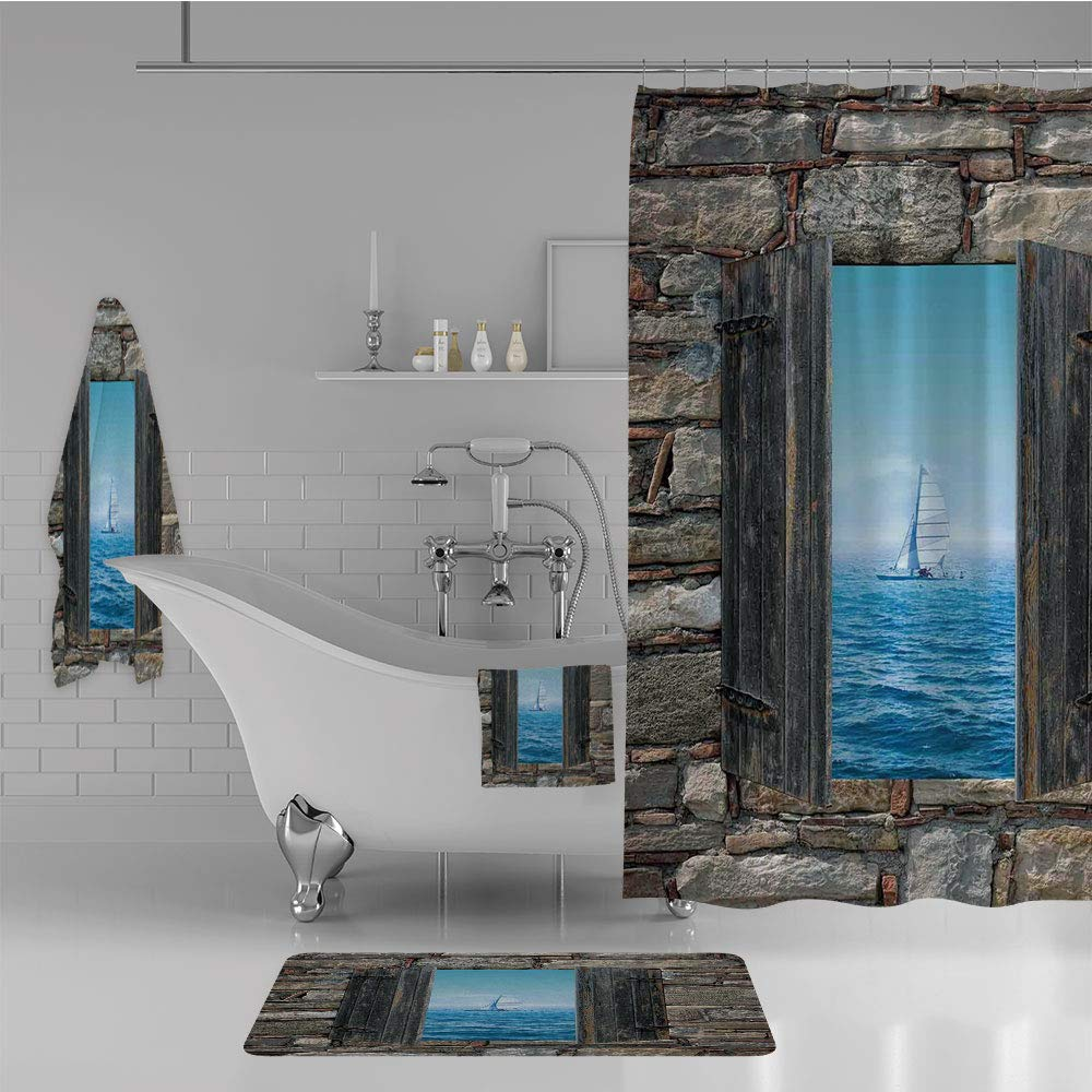 iPrint Bathroom 4 Piece Set Shower Curtain Floor mat Bath Towel 3D Print,Boat from Stone Window Narrow Perspective Idyllic,Fashion Personality Customization adds Color to Your Bathroom.