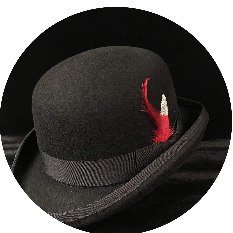 97f05a5a0e0cb3 100% Wool Women Men Black Bowler Hat Gentleman Crushable Billycock Groom  Hats Dad Steampunk Cap, Black, 59CM at Amazon Women's Clothing store: