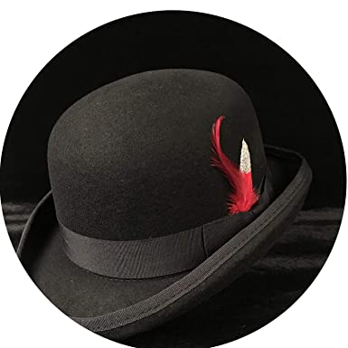 27f45fd4c7d71f Image Unavailable. Image not available for. Color: 100% Wool Women Men  Black Bowler Hat Gentleman Crushable Billycock Groom Hats Dad Steampunk Cap