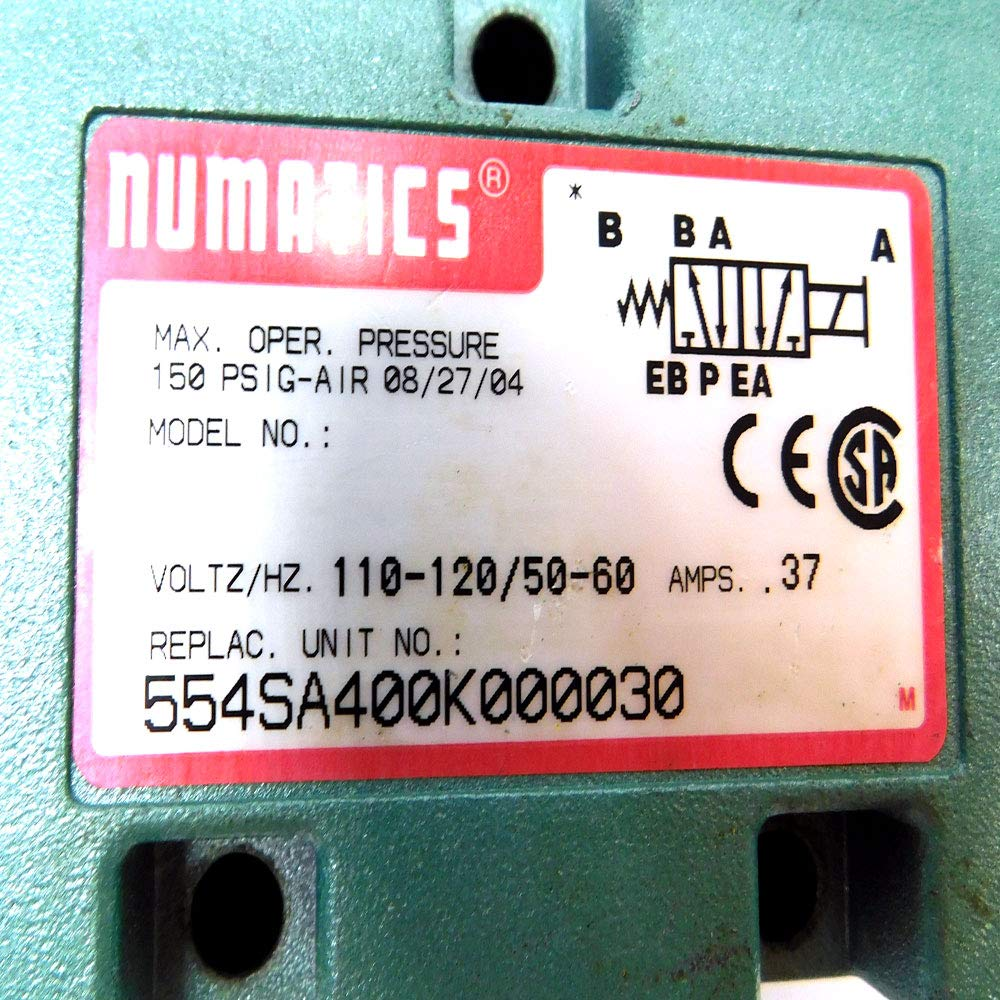 NUMATICS 554SA400K000030 Solenoid Air Control Valve,1//2 In,120VAC