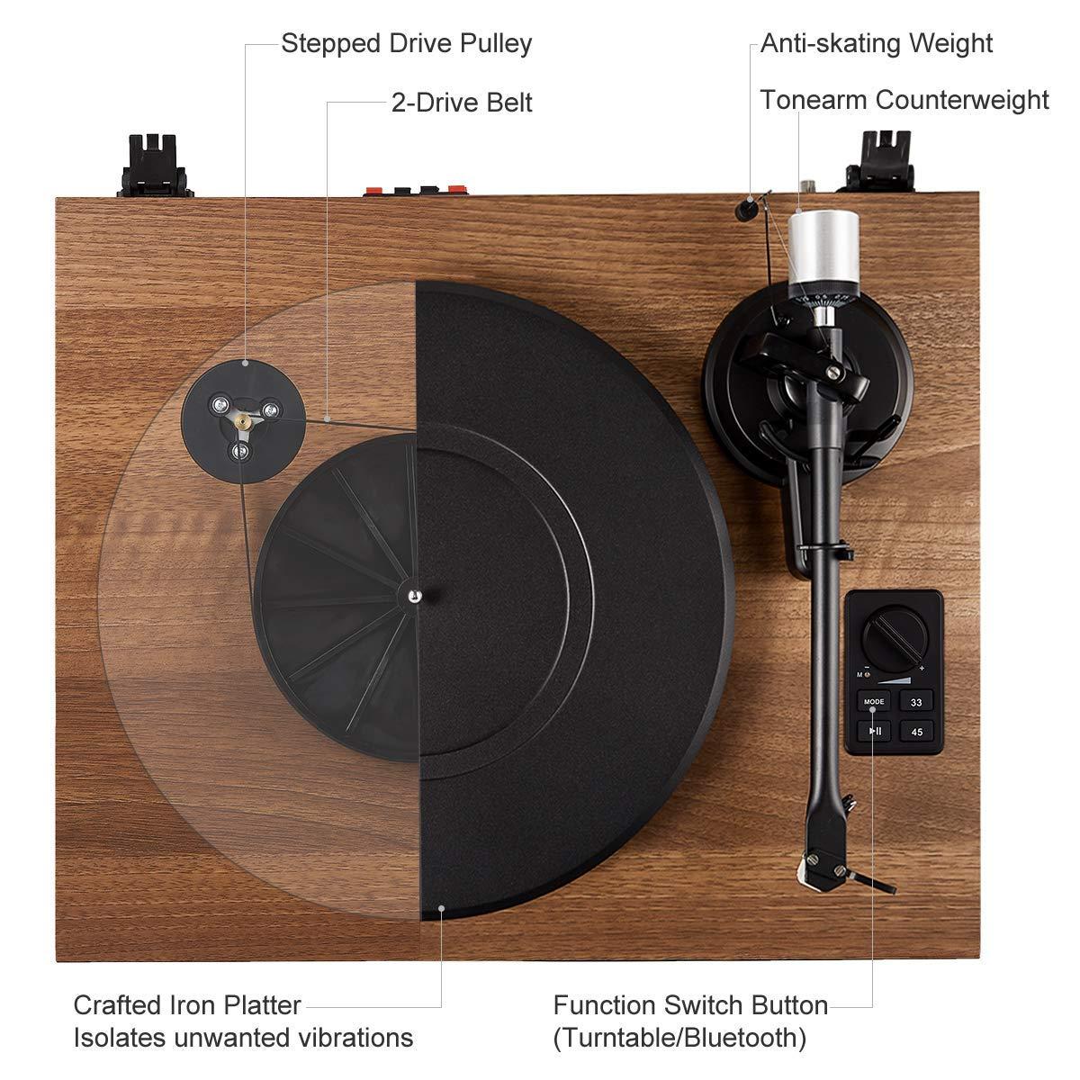 Lecteur de Vynile avec Cartouche Magn/étique 1 BY ONE Tourne-Disque Bluetooth avec Syst/ème Hi-FI Int/égr/é et Enceintes d/'Etag/ère 36 Watts