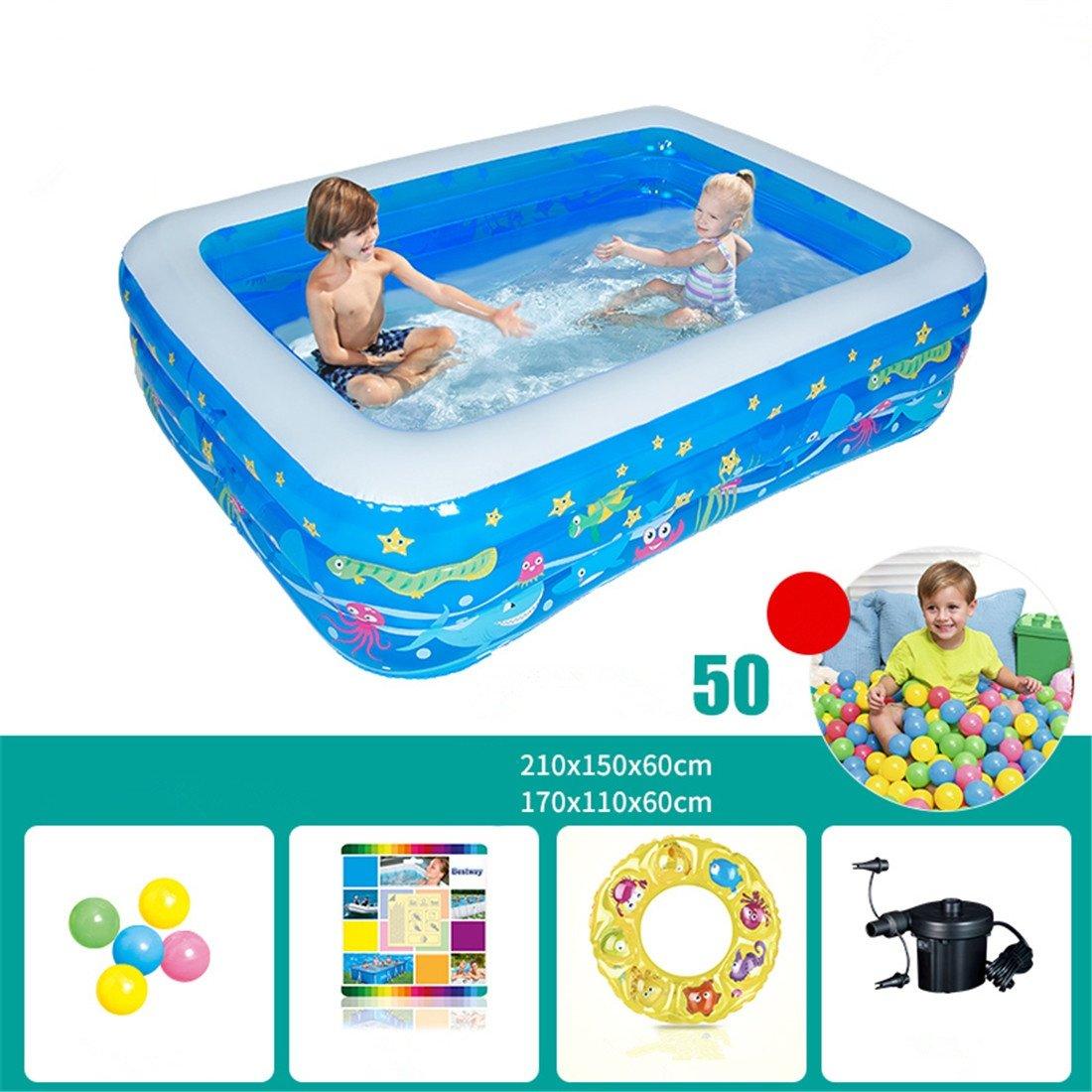 MIWENAddensato bambini adulti in PVC ecologico balneazione piscina gonfiabile pieghevole piscina a sfera piscina grande famiglia 210  150  60 cm per 2-3 persone