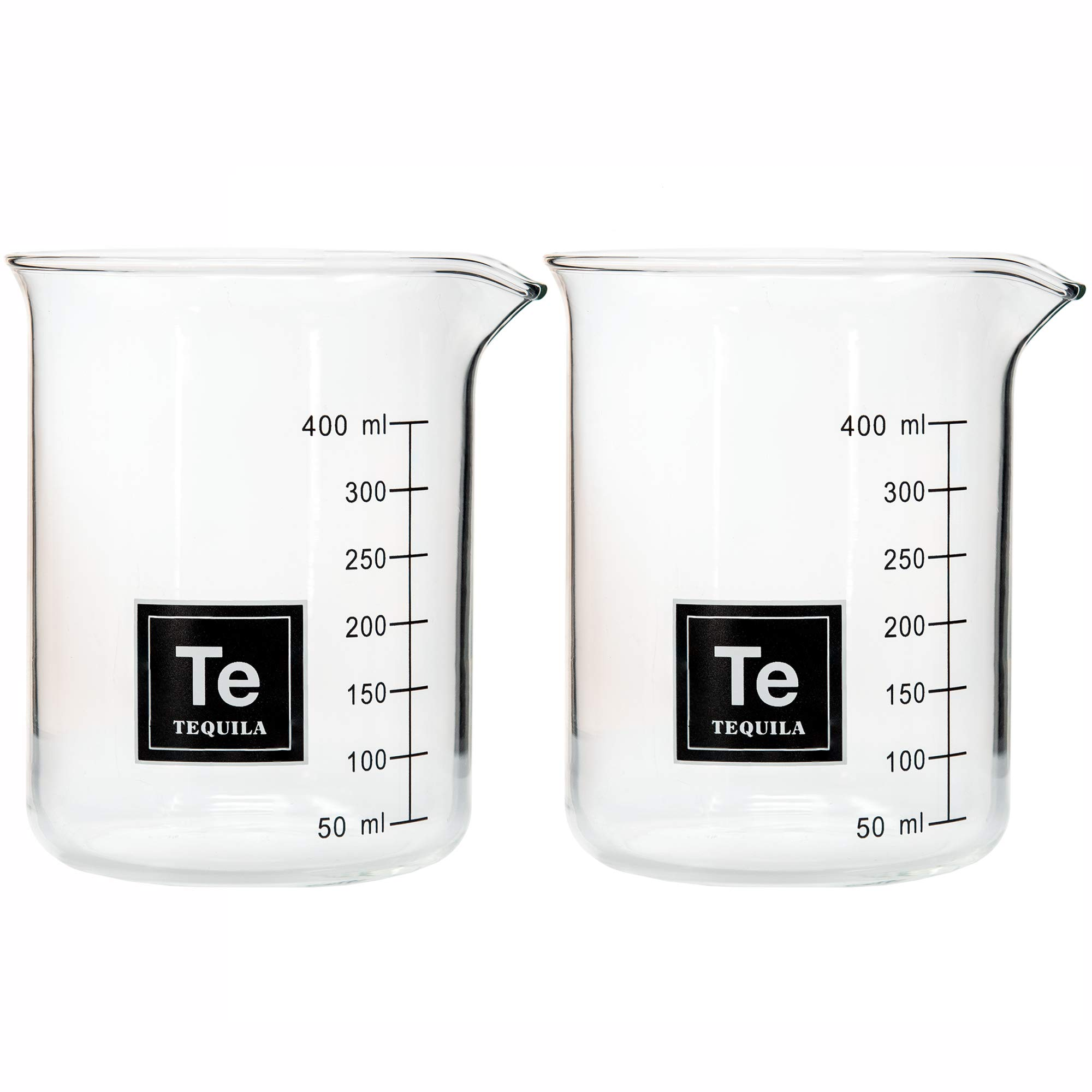 Drink Periodically Set of 2 Laboratory Beaker Tequila Glasses-16oz each short glasses