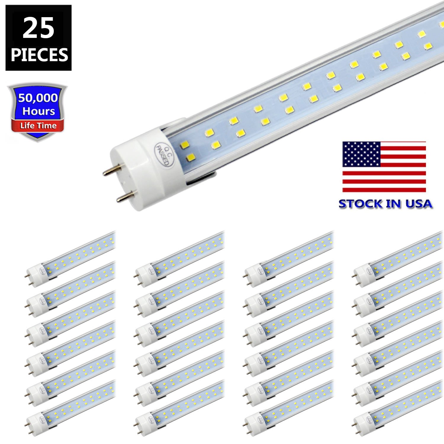 JESLED T8 LED Light Tube, 4FT Two Pins G13 Base, Dual-End Powered, 28W (65W Equivalent), 3080 Lumens, 6000K Cool White, Clear Cover, Dual-Row LED Fluorescent Bulbs, Ballast Removal (25-Pack)