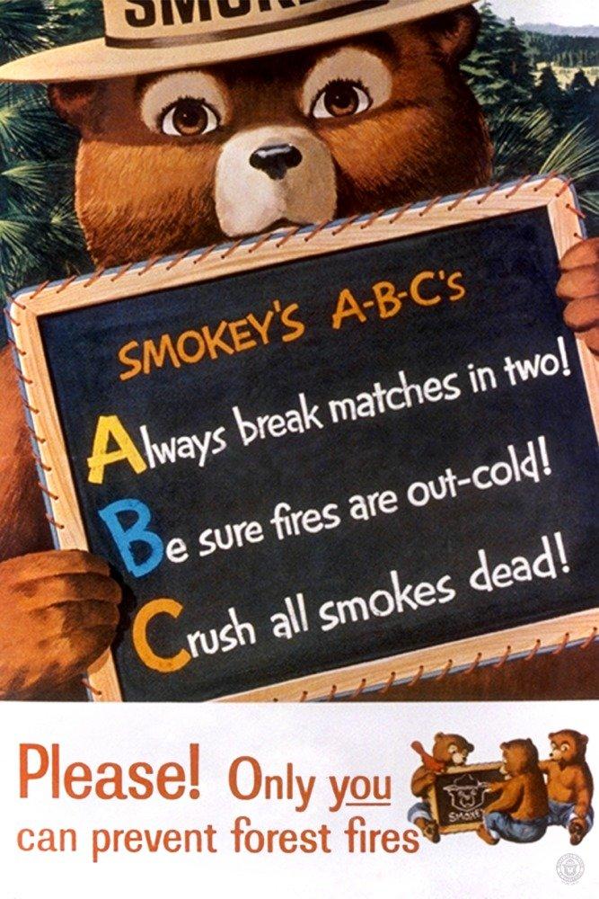 Smokey Bear – ABCs – 黒板 – ヴィンテージポスター 36 x 54 Giclee Print LANT-79825-36x54 B06XZGKC1R  36 x 54 Giclee Print