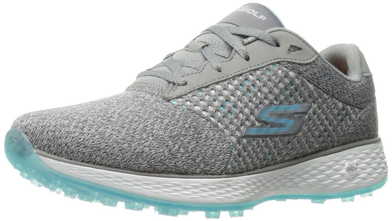 Skechers Women's Go Golf Birdie Golf Shoe B01GUVQ4M0 7 B(M) US|Gray/Blue Knit