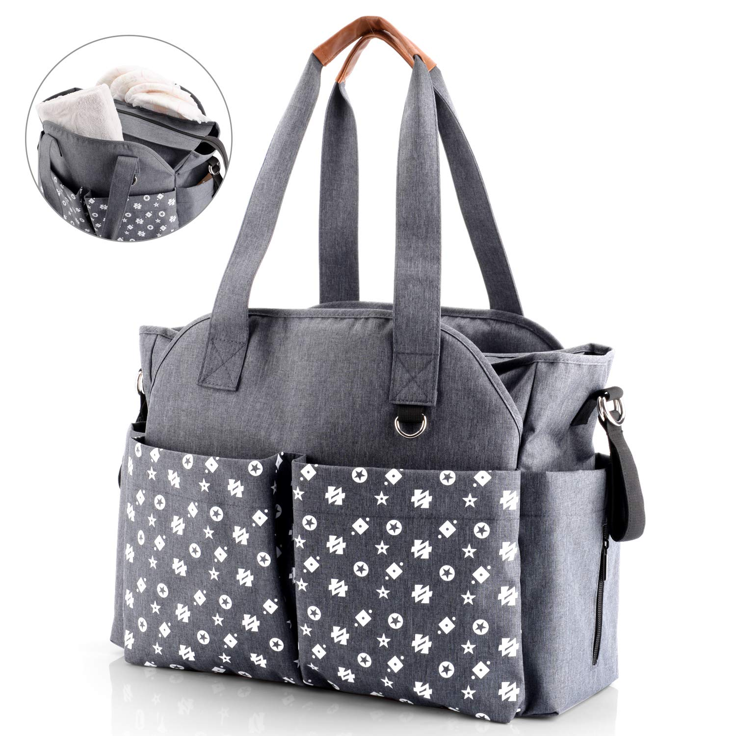 GFCGFGDRG Waterproof Clothes Wet Dry Diaper Bags Reusable Nappy Pouches with 2 Zippered Pockets Printed Storage Organizer Sacks