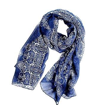 fcbd32d8749 Echarpe Foulard Long Doux Mode Nouveau Chaud Automne Hiver pour Femmes  (Bleu Foncé)