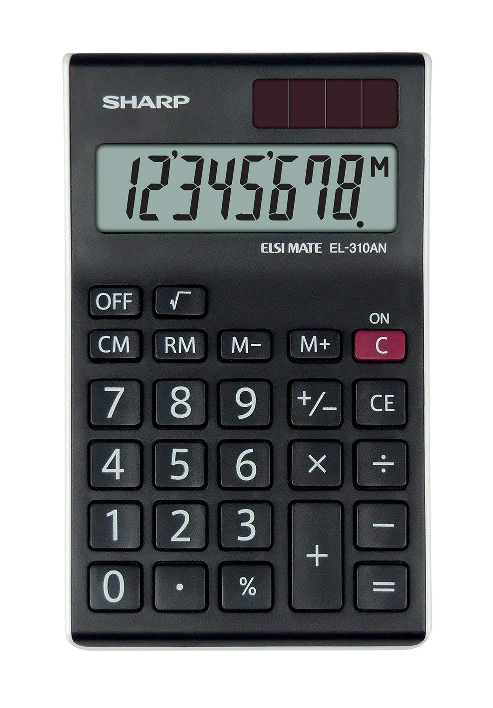 Black//White Sharp EL-310ANWH Office Semi-Desktop Calculator