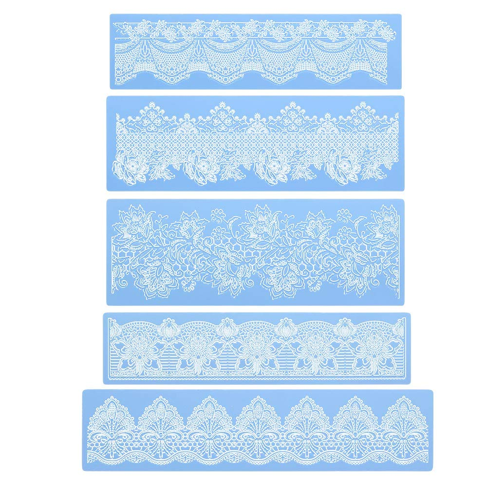 Silicone Lace Molds, Beasea 5pcs Fondant Cake Decorating Tools Lace Decoration Mat Flower Pattern Molds Sugar Craft Tools - Blue