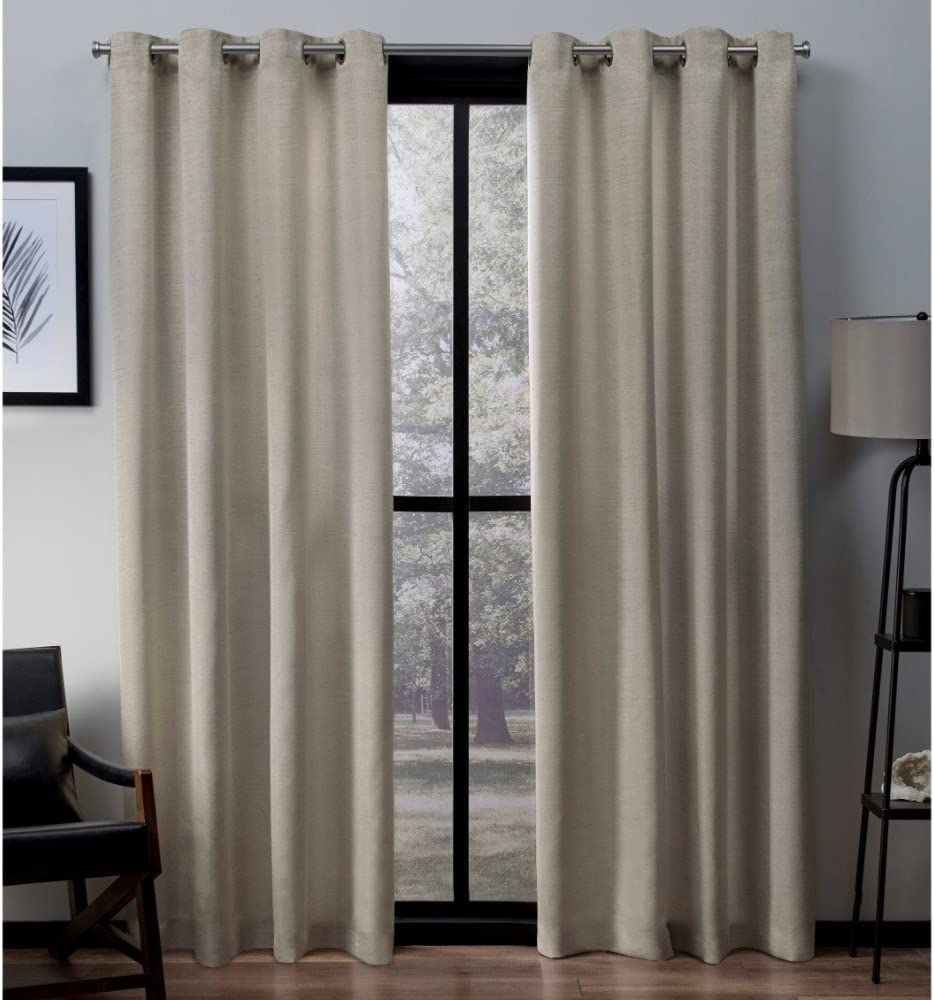 Exclusive Home Curtains Virenze Faux Silk Window Curtain Panel Pair with Grommet Top, 54x108, Taupe, 2 Piece