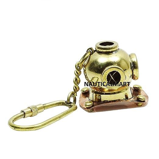 Llavero latón Golden buceo casco clave cadena por ...