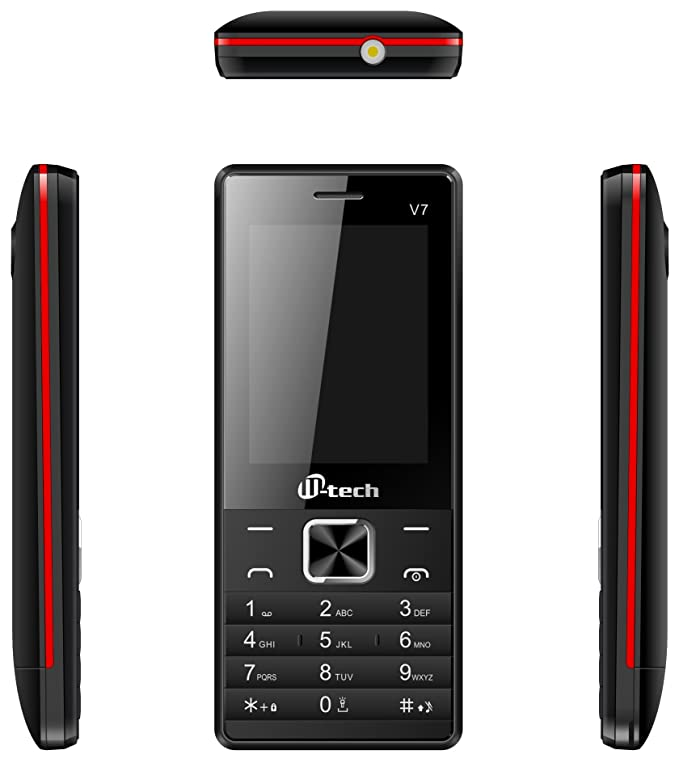 MTECH V7 Dual Sim Feature Phone Black Red Basic Mobiles