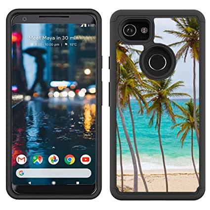 Corpcase - Hybrid Case for Google Pixel XL 2 - Tropical Palm Tree On Beach/Unique Case With Great Protection