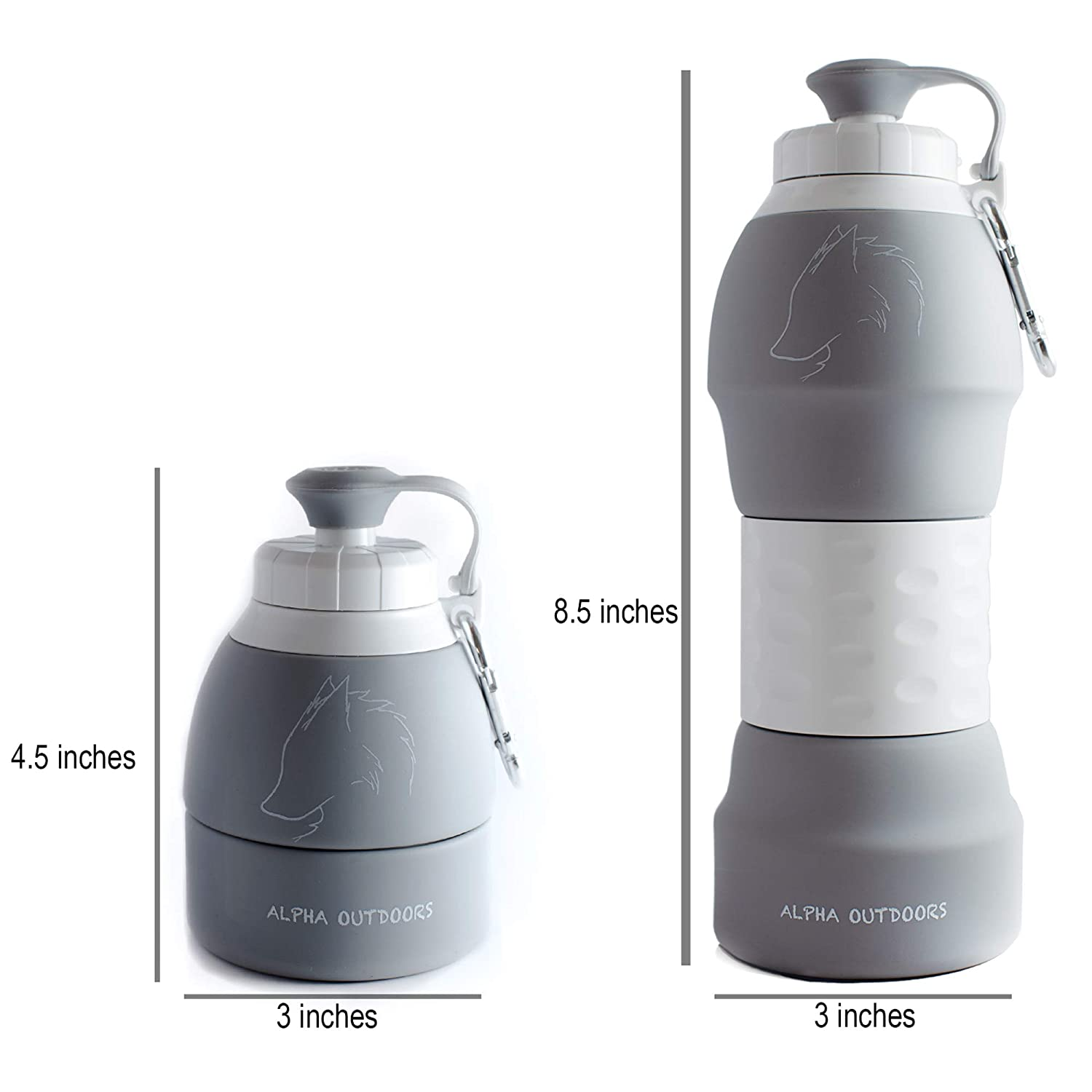 Hiking Leak /& Shatter Proof Design-BPA Free-FDA Approved-EcoFriendly-Foldable Sport Bottle for Traveling Camping and Sports AlphaOutdoors Collapsible Water Bottle