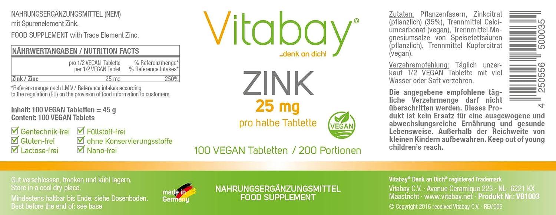 Cinc 50 - Cinc 50 mg (contenido elemental) - Citrato de zinc de alta calidad - Calidad superior - Hecho en Alemania - 100 tabletas veganas (200 porciones): ...