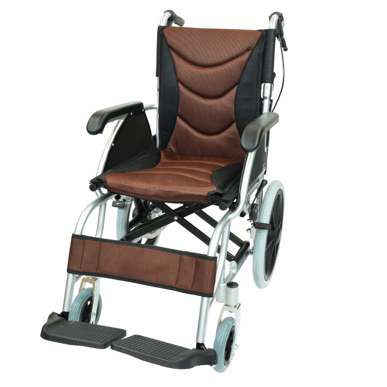 ケアテックジャパン 介助式 アルミ製 車椅子 CA-42SU ハピネスプレミアム -介助式- (ブラウン) B01MT9P54Z ブラウン ブラウン