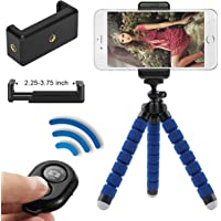 Phone Tripod, Flexible Cell Phone Tripod with Remote for iPhone & Android Phone, Camera, and Gopro (Blue)