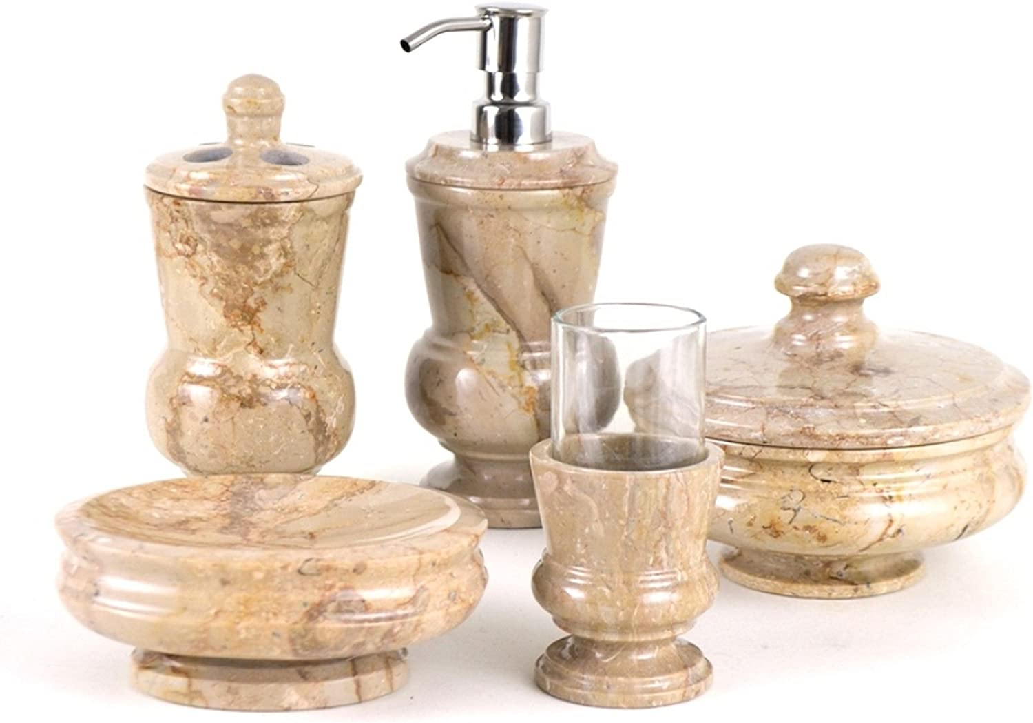 White Onyx Marble 5-Piece Bathroom Accessories Set of Tasmanian Collection