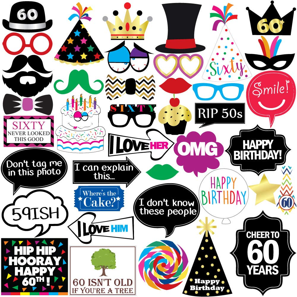 Sterling James Co. 60th Birthday Photo Booth Party Props - 40 Pieces - Funny 60th Birthday Party Supplies, Decorations and Favors by Sterling James Co. (Image #1)
