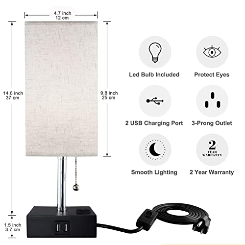 USB Table Lamp, Sailstar Bedside Lamps with Fast Dual USB Charging Ports and Outlet Warm LED Bulb, Modern Nightstand Lamp with Black Base and Fabric Shade for Bedroom, Living Room, Office