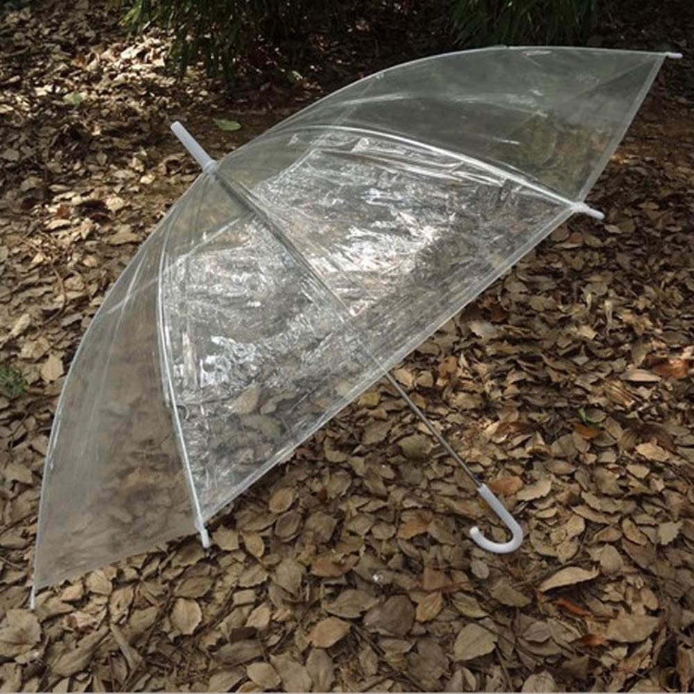 Colorful Transparent Automatic Rain Umbrella Dome Wedding Party Favor Waterproof White, 8K