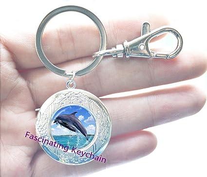 Orca camafeo colgante llavero llavero joyas peces Locket ...