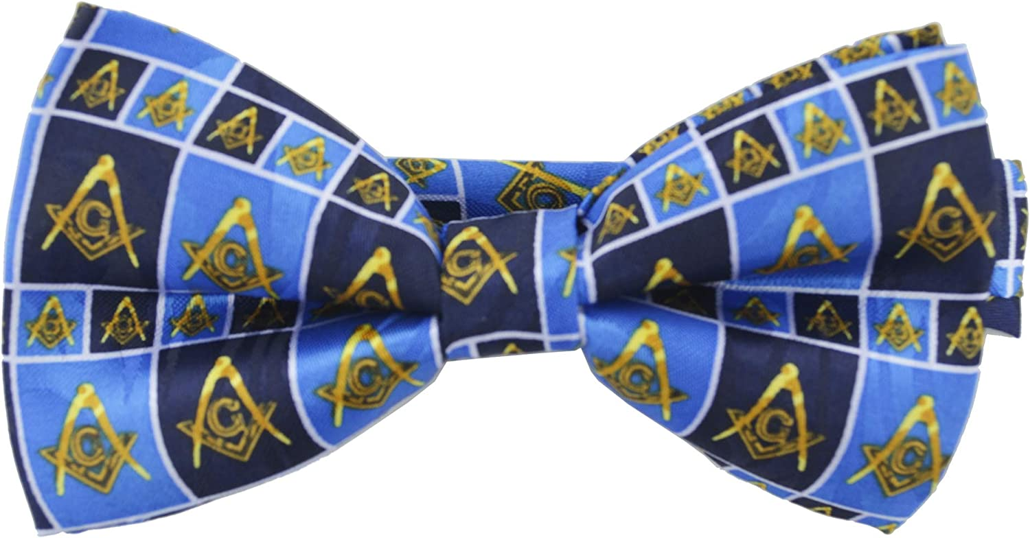 Masonic Regalia - Bowtie for Freemason Lodge Attire - Pre-Tied Blue Bow tie with Boxed Masonic Pattern Design. Masonry Clothing Formal Suit or Tuxedo. Compass and Square Ties