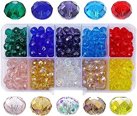 200pcs Bulk Spacer Beads Mixed Crystal Glass Loose 8mm Rondelle Jewelry Faceted