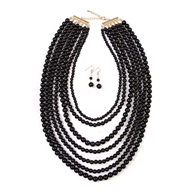 Exaggerated Big Fashion Jewelry Wholesale Imitation Pearl Multi Layer Bead Necklace Accessories Orange