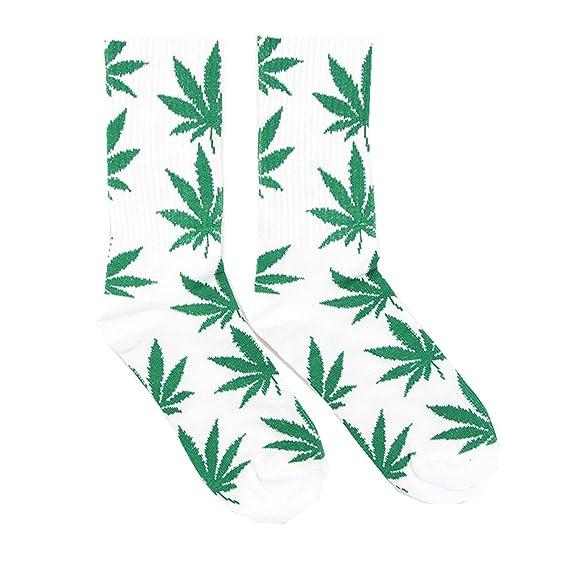 Spring fever Unisex marihuana Weed Leaf Impreso Tripulación Calcetines (blanco/verde)