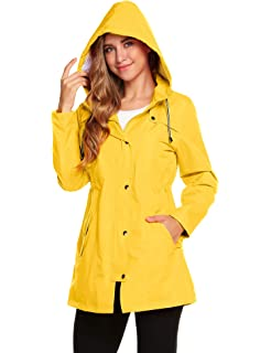 46731e40698a ... Long Sleeve Zipped Trench Coats. Romanstii Womens Waterproof Rain  Jacket Hooded Raincoat Lined Outdoor Windbreaker…