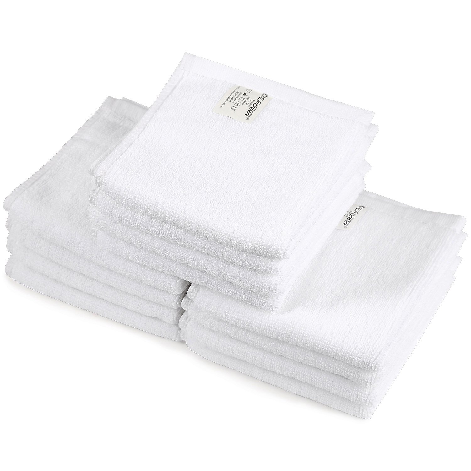 Kitchen Towels, Hand Towels, Towel Set,Commercial Grade Microfiber Towel for use in Bathroom, Kitchen, Nursery and for Cleaning (12''*12'', White)