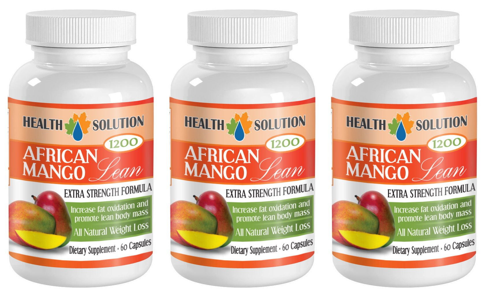 Best African mango seed extract - AFRICAN MANGO LEAN Extra strength Formula 1200mg - Weight loss herbal supplements (3 Bottles 180 capsules) by Health Solution Prime