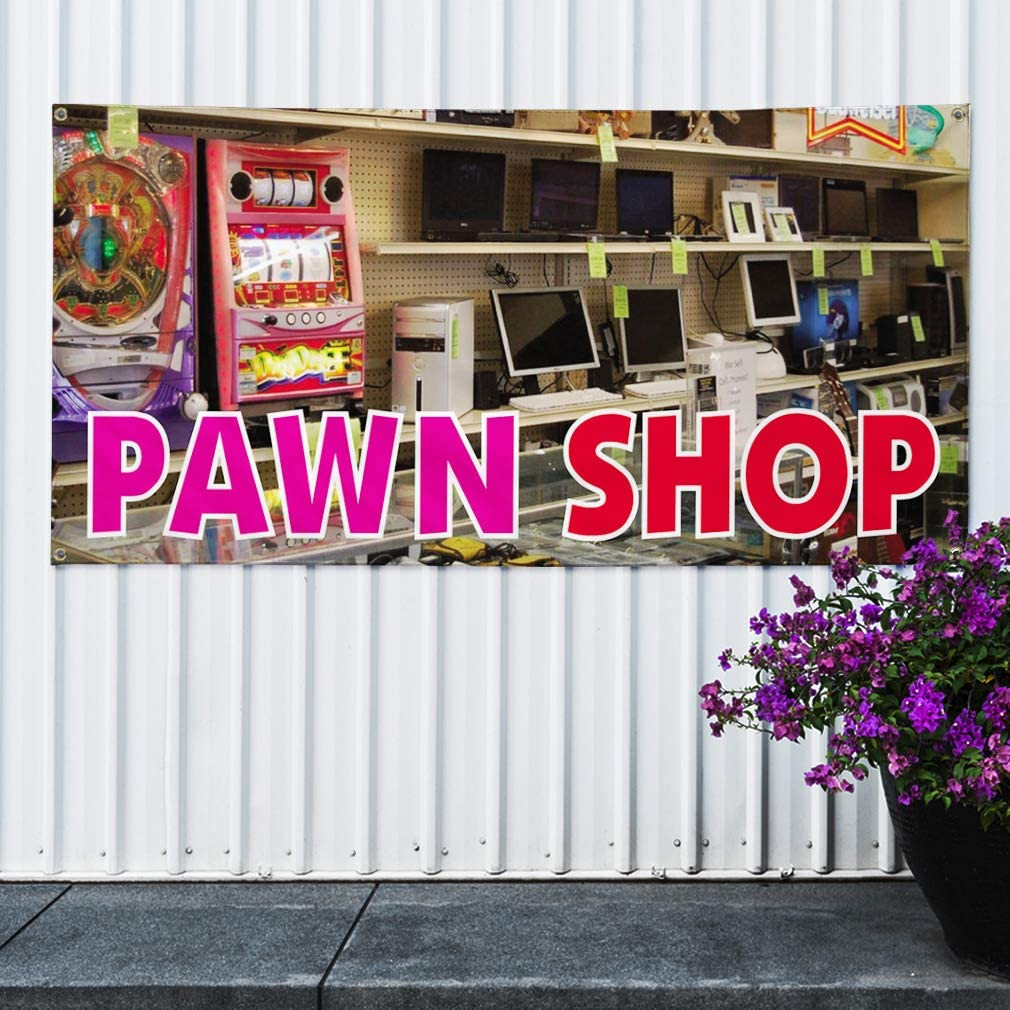 Multiple Sizes Available Set of 2 4 Grommets 28inx70in Vinyl Banner Sign Pawn Shop #1 Style C Business Pawn Shop Marketing Advertising Brown
