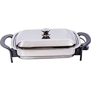 Precise Heat KTES4 16-Inch Rectangular Surgical Stainless Steel Electric Skillet