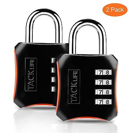 Candado de combinación, TACKLIFE-HCL3B-2 Packs Candado de numeración de 4 dígitos Cerraduras de equipaje Código de seguridad para maleta, gimnasio, ...