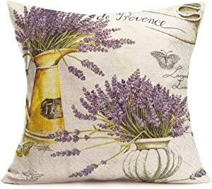 Xihomeli Vintage Lavender Flower Home Decor Pillow Covers Country Style Animal Butterfly Print Pillowcase Cotton Linen Floral Theme Decor Sofa Couch Bed 18x18 Inch (Lavender)