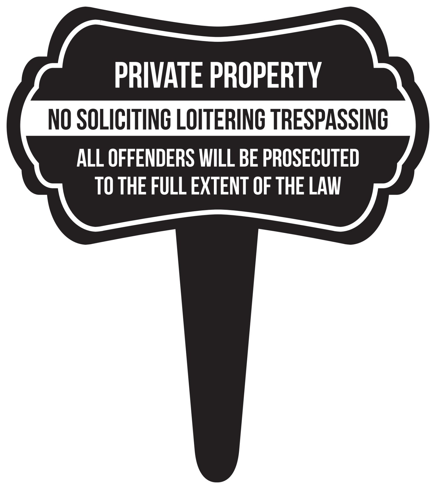iCandy Combat Private Property No Soliciting Loitering Trespassing Home Yard Lawn Sign, Black, 16x18, Single