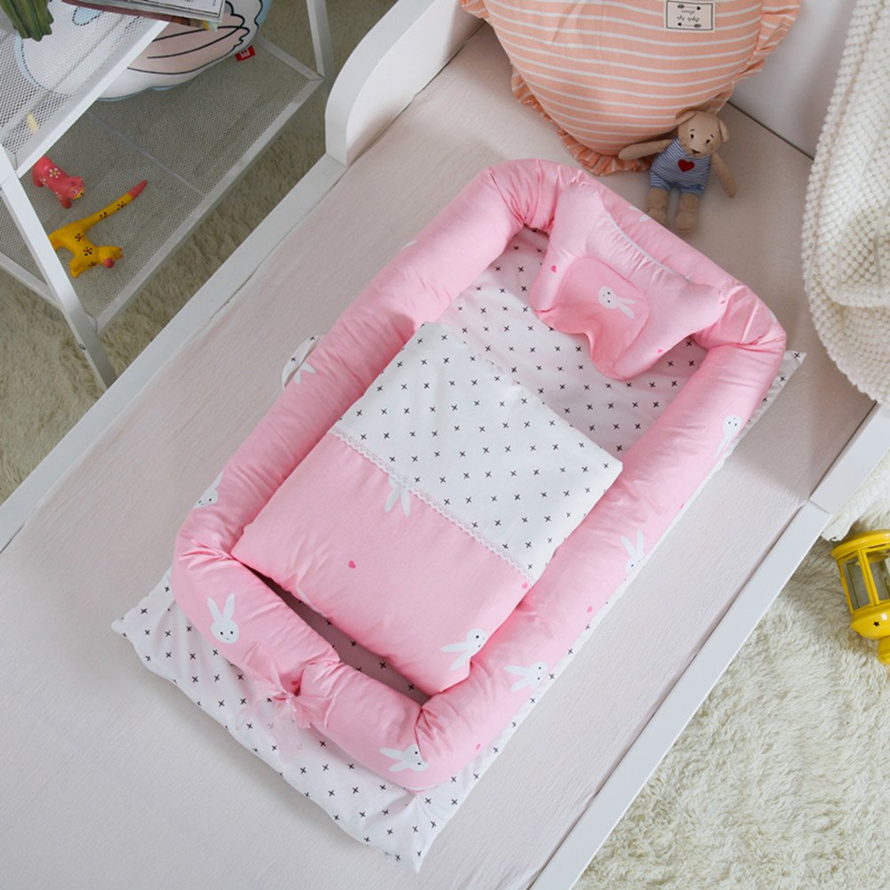 Cotton Detachable Baby Nest,Quilt and Pillow for 0-24 Months Baby Dog