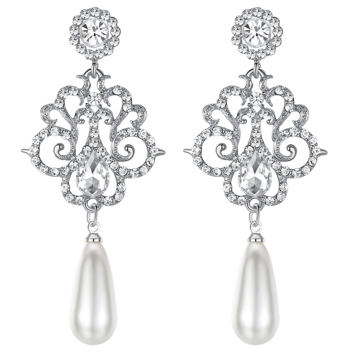 mecresh Silver Long Simulated Pearl Crystal Wedding Earring Jewelry