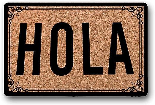 Yolocal Hola Felpudo para puerta familiar divertido idea de regalo al aire libre regalo de inauguraci/ón de la casa divertido felpudo para exteriores alfombra espa/ñola 45 x 75 cm primer movimiento