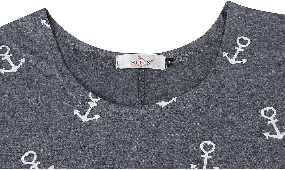 sehr angenehm zu Tragen ELFIN Damen T-Shirt Top mit Anker Druck Rundhals Kurzarm Ladies Sommer Shirt Anker Sailing Tee Allover Print leicht und luftig