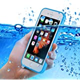 iPhone 6S plus Waterproof Case, Sextile Ultra Slim Thin Light Under Water Full Baody Protection IPX-6 Waterproof Shockproof Dust/Snow Proof Case Cover for iPhone 6 / 6S 5.5 inch (Blue)