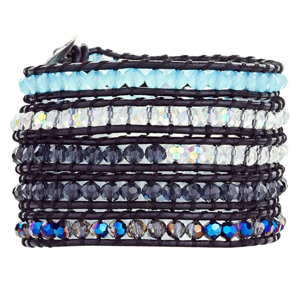 Babao Jewelry Sparkling Faceted AB Blue Crystal Natural Beads Leather 5 Wraps Bracelet
