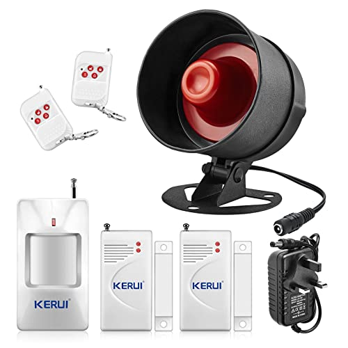 KERUI Standalone Home Office Shop Garage Security Alarm System Kit,Wireless Loud Indoor Outdoor Weatherproof Siren Horn with Remote Control and Door Contact Sensor,Motion Sensor,Up to 110db