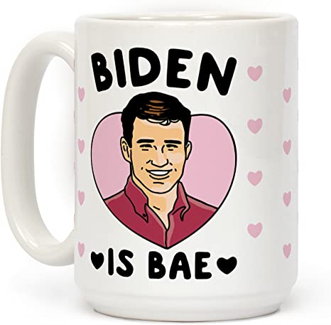Amazon Com Lookhuman Biden Is Bae White 15 Ounce Ceramic Coffee Mug Kitchen Dining