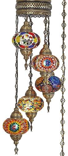 10 Colors Swag Plug in Light, Demmex 5 Big Globes Turkish Moroccan Mosaic Tiffany Swag Wall Plug in Ceiling Hanging Light Chandelier Lighting, 15feet Chain Cord North American Plug Multi2